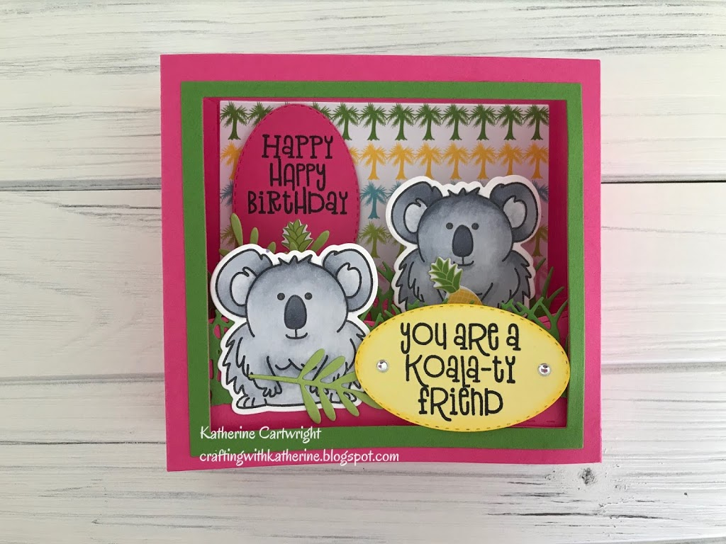 Koala Pudgie Shadow Box card featuring The Stamps of Life