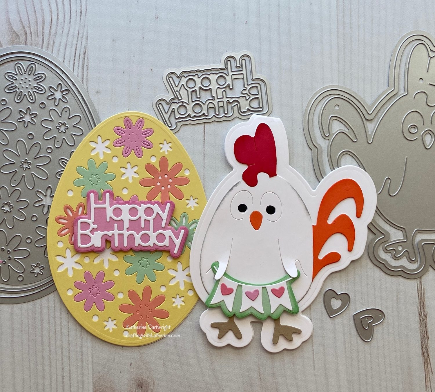 Handmade Card: Happy Sentiments Egg and Chicken Fold it
