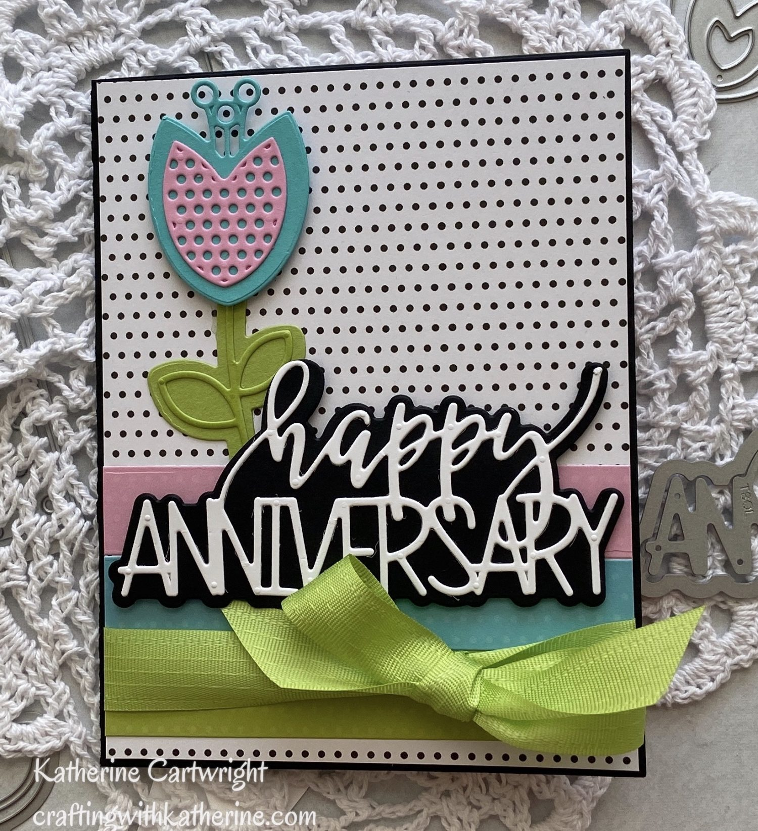 Handmade Card: Trendy Happy Anniversary