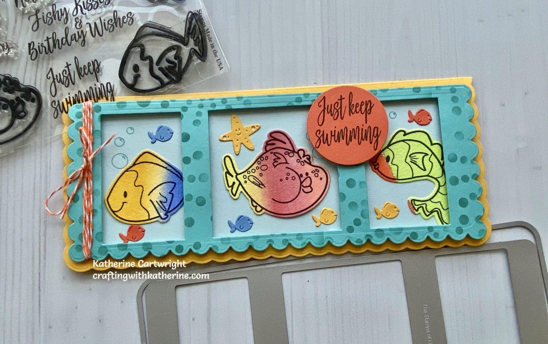 Collage Slimline Fish2stamp card