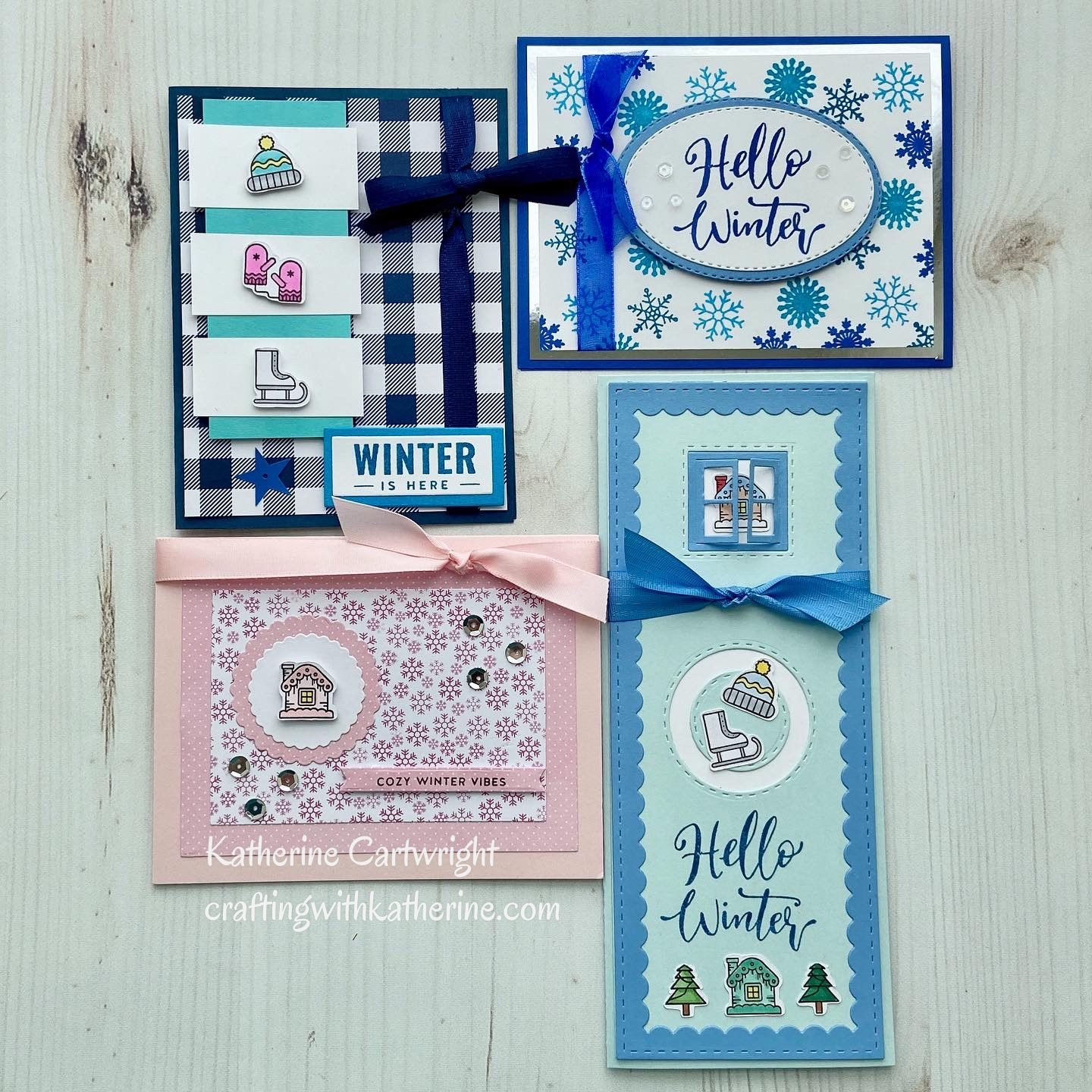 4 Cards | 1 Stamp Set – Kingston Crafts Hello Winter