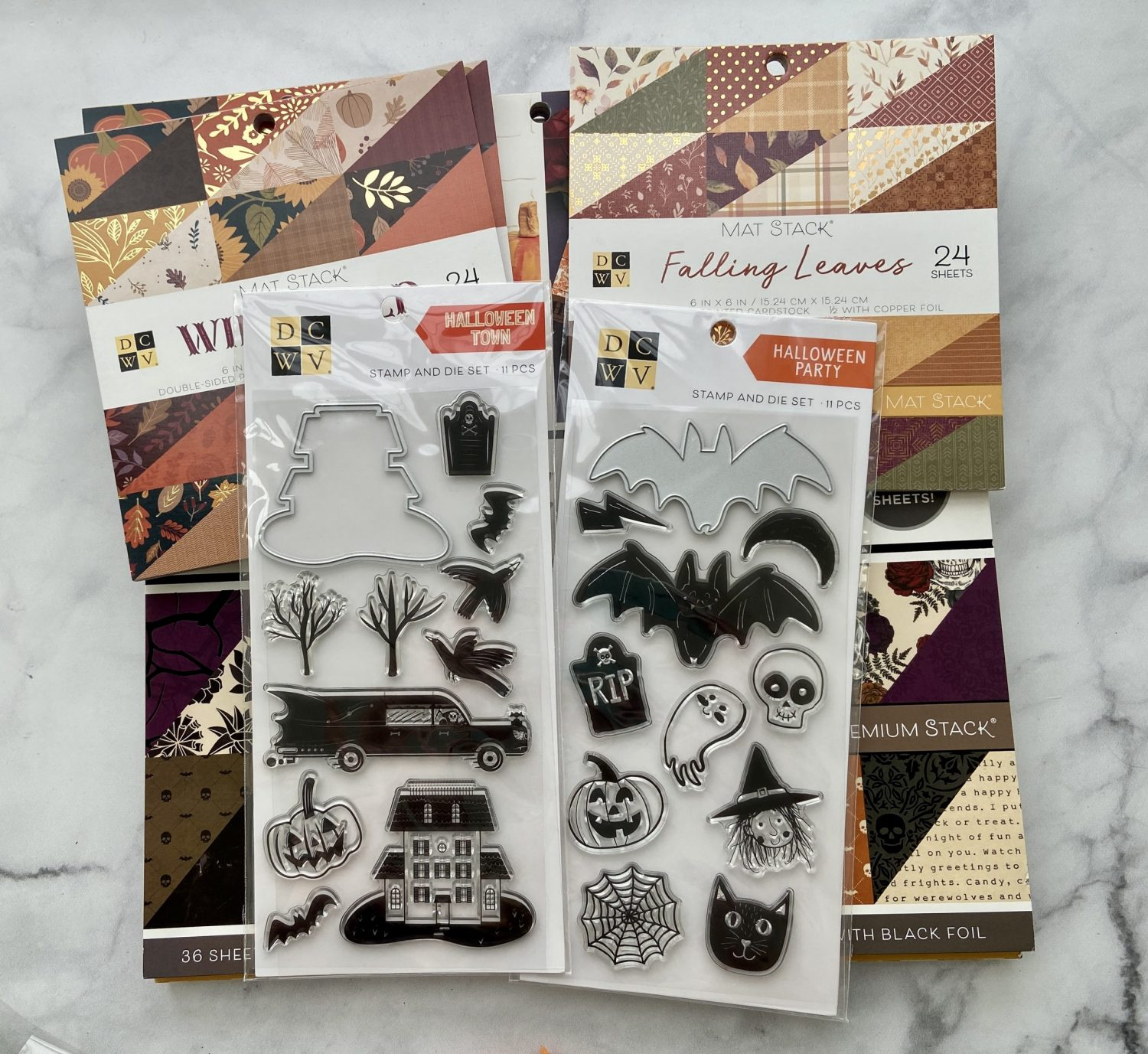 Read more about the article 3 Quick Easy Cards – Fall Craft Haul Part 2- DCWV Fall and Halloween Paper pads and stamps Joann.com